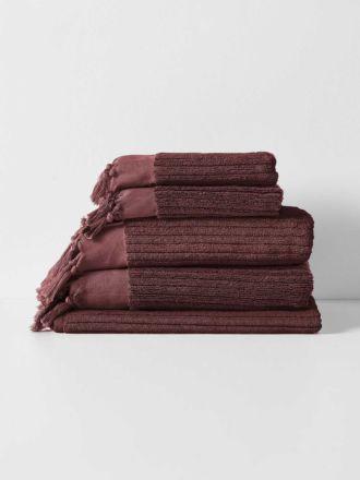 Paros Rib Bath Towel Set - Syrah