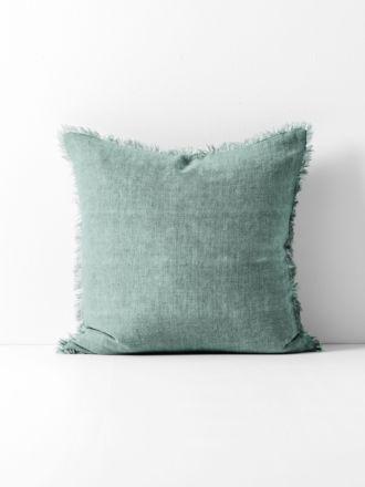 Vintage Linen Fringe Cushion - Jade