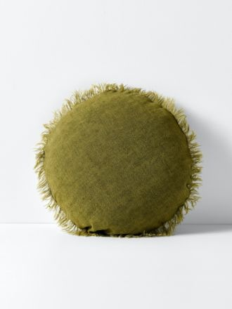 Vintage Linen Fringe 55cm Round Cushion - Olive