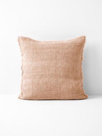 Vintage Linen Fringe Cushion - Clay