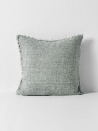 Vintage Linen Fringe Cushion - Limestone
