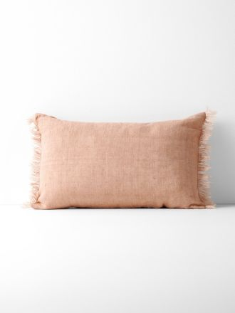 Vintage Linen Fringe Rectangle Cushion - Clay