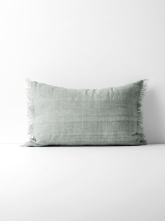 Vintage Linen Fringe Rectangle Cushion - Limestone