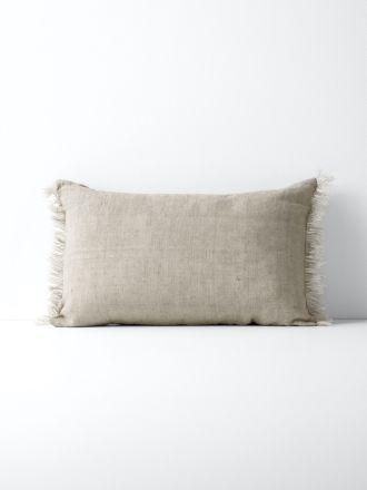 Vintage Linen Fringe Rectangle Cushion - Natural