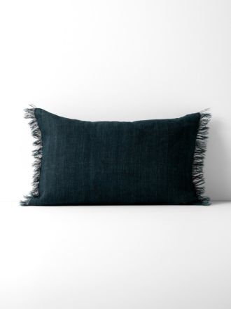 Vintage Linen Fringe Rectangle Cushion - Slate