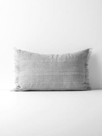Vintage Linen Fringe Rectangle Cushion - Smoke