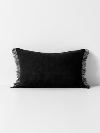 Vintage Linen Fringe Rectangle Cushion - Black