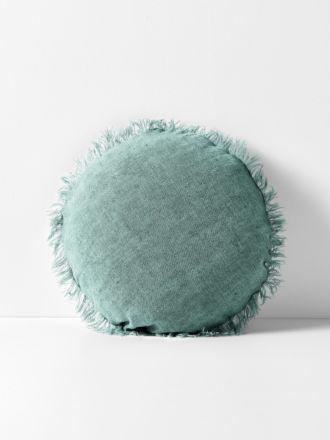 Vintage Linen Fringe 45cm Round Cushion - Jade