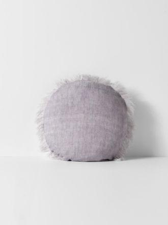 Vintage Linen Fringe Round Cushion - Iris