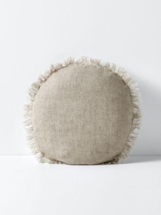 Vintage Linen Fringe 55cm Round Cushion - Natural