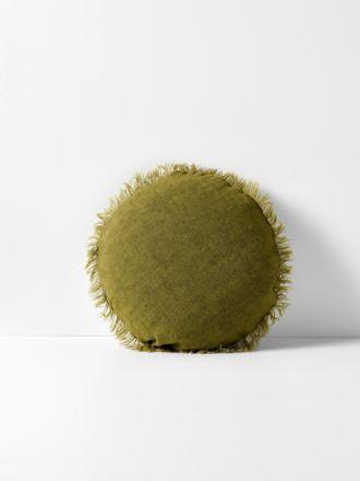 Vintage Linen Fringe 45cm Round Cushion - Olive