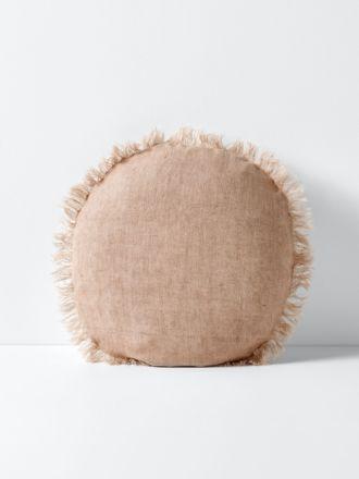 Vintage Linen Fringe 55cm Round Cushion - Pink Clay