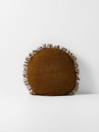 Vintage Linen Fringe Round Cushion - Tobacco