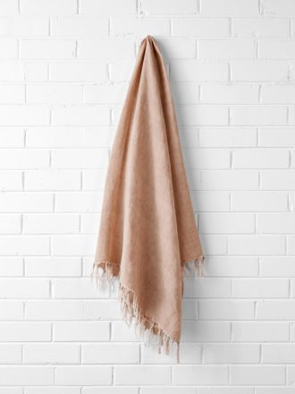Vintage Linen Fringe Throw - Clay