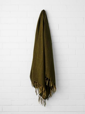 Vintage Linen Fringe Throw - Khaki