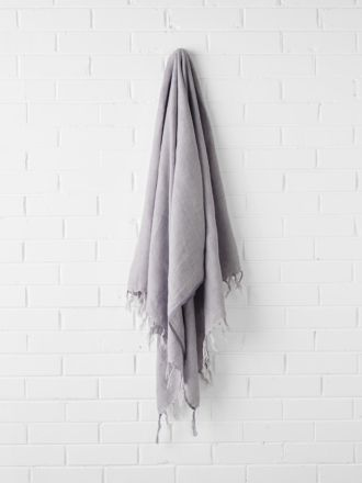Vintage Linen Fringe Throw - Iris