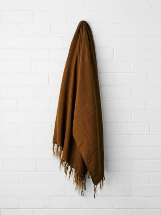 Vintage Linen Fringe Throw - Tobacco