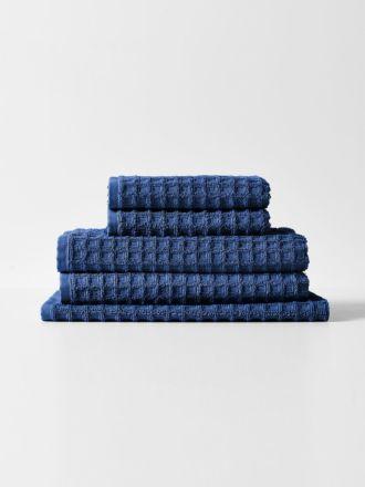 Waffle Bath Towel Set - Bijou Blue