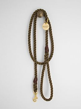 Olive & Brass Rope Dog Leash by Animals In Charge