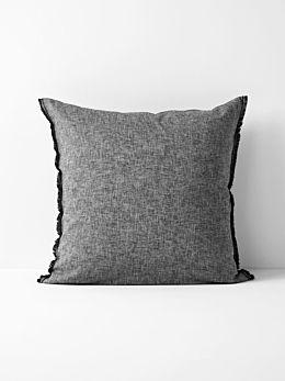 Chambray Fringe European Pillowcase - Smoke