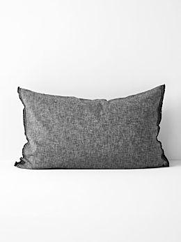 Chambray Fringe Standard Pillowcase - Smoke