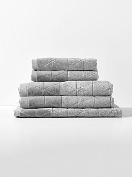 Chambray Border Towel Set - Dove