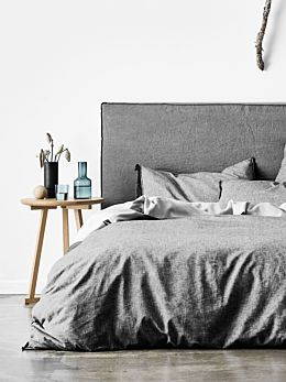 Chambray Fringe Quilt Cover - Smoke
