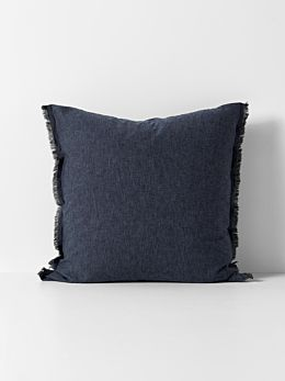 Chambray Fringe European Pillowcase - Ink