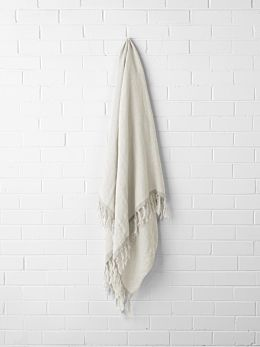 Chambray Linen Throw - Marshmallow