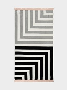 Corner Stripe Beach Towel - Black