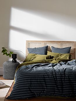 French Stripe Organic Cotton Quilt Cover - Steel