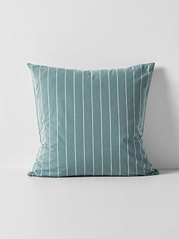 French Stripe Organic Cotton European Pillowcase - Atlantic
