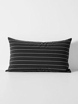 French Stripe Organic Cotton Standard Pillowcase - Black