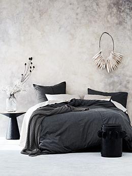 Denim Quilt Cover Set - Charcoal
