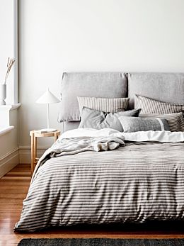 Heirloom Stripe Quilt Cover - Charcoal