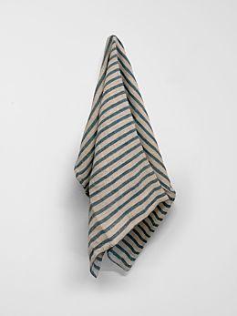 Heirloom Stripe Tea Towel - Indian Teal