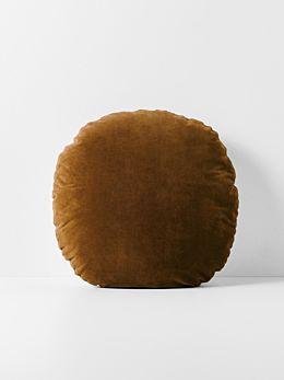 Luxury Velvet 55cm Round Cushion - Tobacco