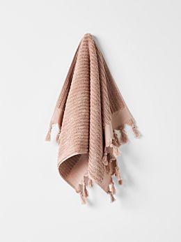 Paros Rib Hand Towel - Shell