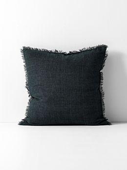 Vintage Linen Fringe Cushion - Slate