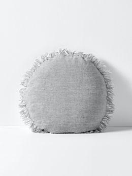 Vintage Linen Fringe 55cm Round Cushion - Smoke
