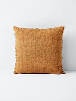 Vintage Linen Fringe Cushion - Cinnamon