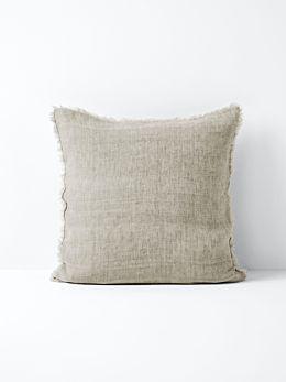 Vintage Linen Fringe Cushion - Natural