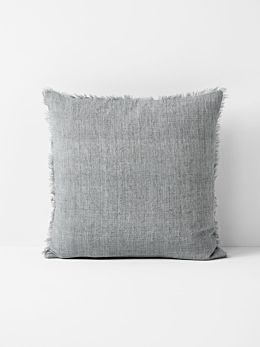 Vintage Linen Fringe Cushion - Smoke