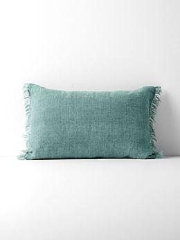 Vintage Linen Fringe Rectangle Cushion - Jade