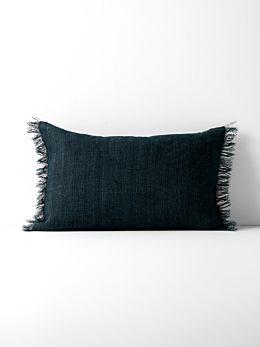 Vintage Linen Fringe Rectangle Cushion - Slate