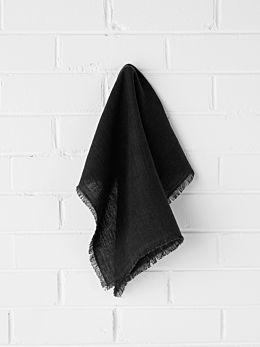 Vintage Linen Napkins Set of 4 - Black