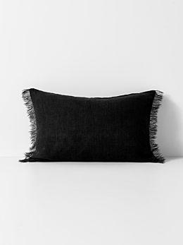 Vintage Linen Fringe Rectangle Cushion - Black