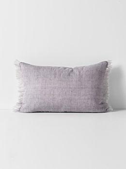 Vintage Linen Fringe Rectangle Cushion - Iris