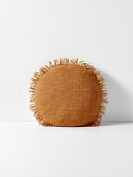 Vintage Linen Fringe 45cm Round Cushion - Cinnamon