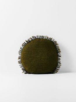 Vintage Linen Fringe Round Cushion - Khaki